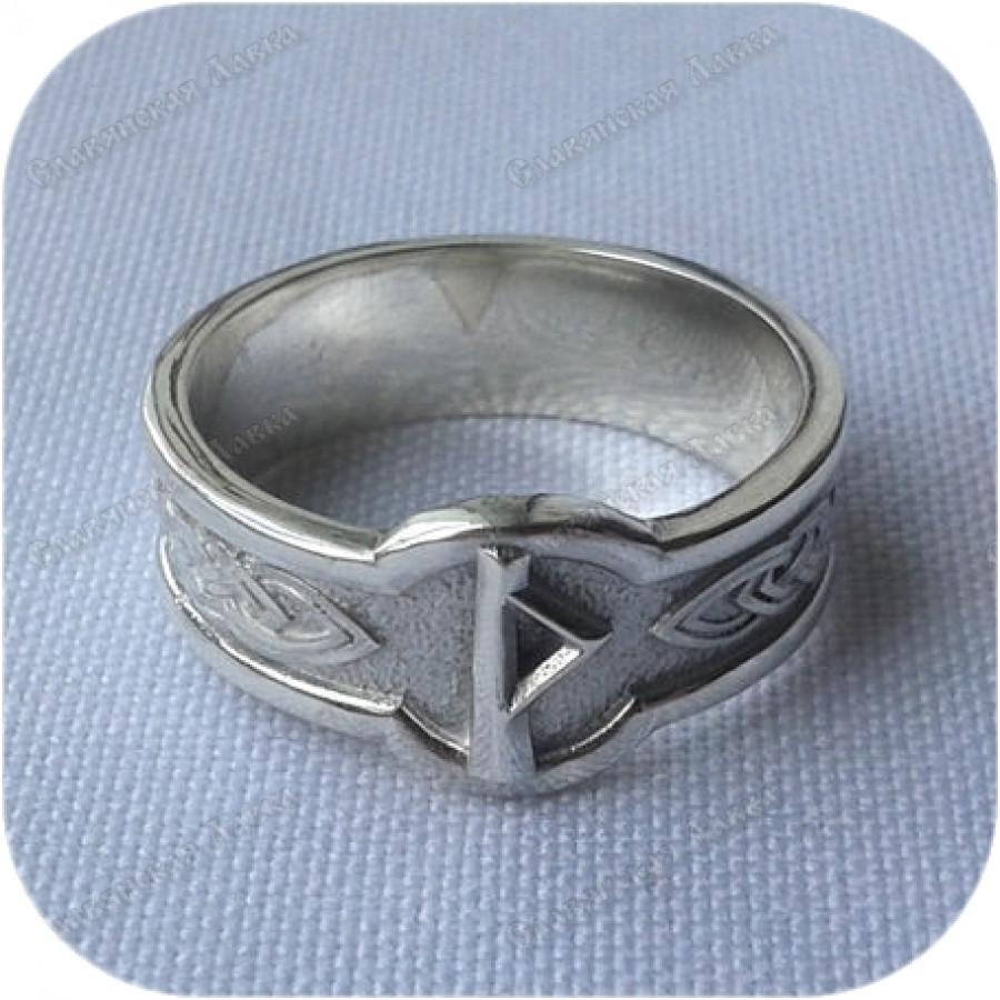 Серебряное кольцо с руной «Турисаз»