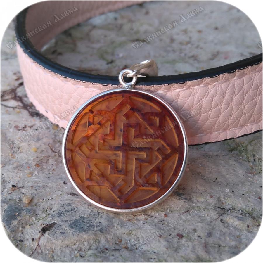 Оберег серебряный «Валькирия в янтаре»
