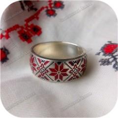 Серебряное кольцо «Алатырь» (эмаль)