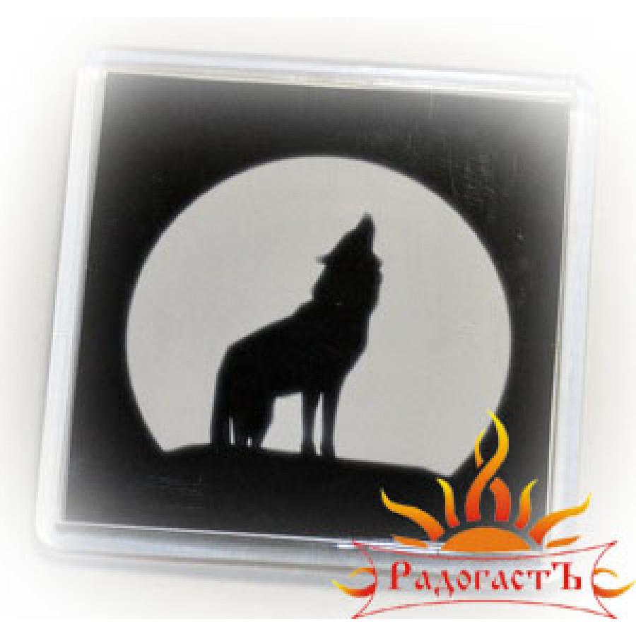 Магнит «Волк» (черно-белый)