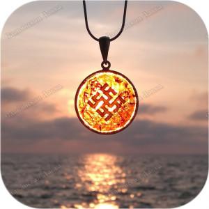 Оберег серебряный «Цветок Папоротника в янтаре»
