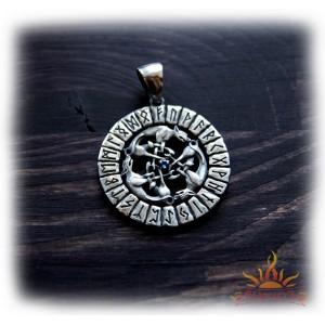 Большой серебряный кулон «Футарк - Волчья стая»