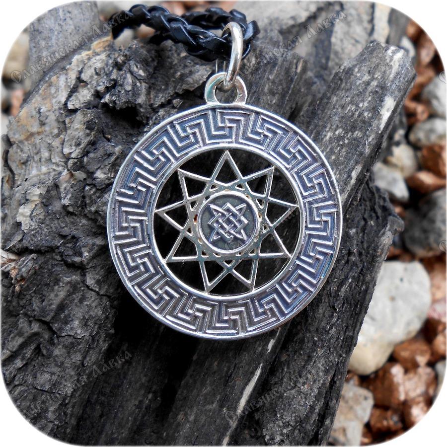 Кулон из серебра двусторонний «Чертоги Сварожьего Круга»