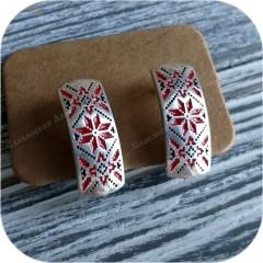 Серьги серебряные «Алатырь» (эмаль)