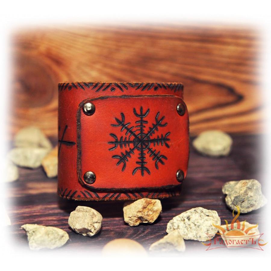 Кожаный браслет  «Шлем Ужаса»