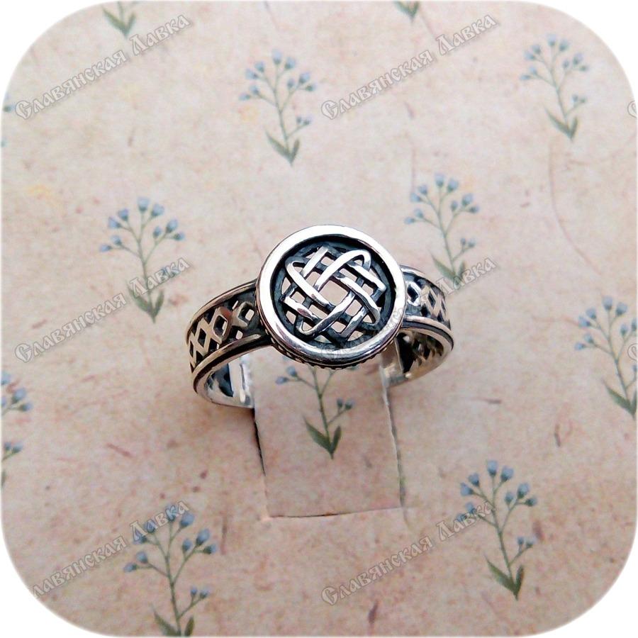 Серебряное кольцо «Квадрат Сварога» в круге