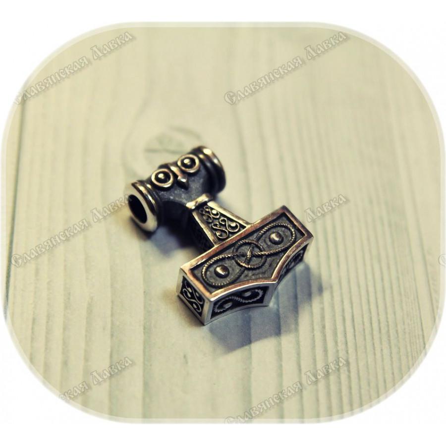 Серебряный кулон «Молот Тора»