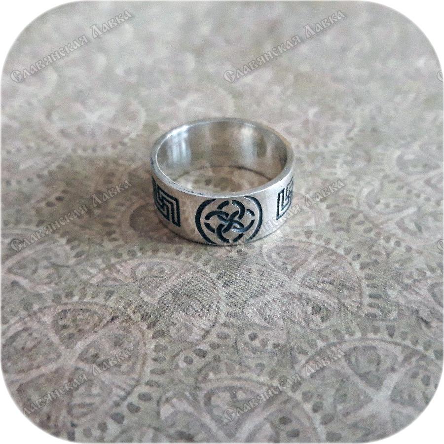 Серебряное кольцо «Свадебник с орнаментом»