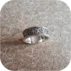 Славянское кольцо с обережным орнаментом