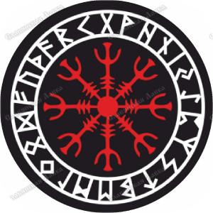 Скандинавская наклейка «Агисхьялм, время футарка»