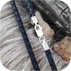 Шнур кожаный с оконцовками из серебра (упрощённый)