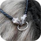 Шнур кожаный с оконцовками из серебра «Медведь»