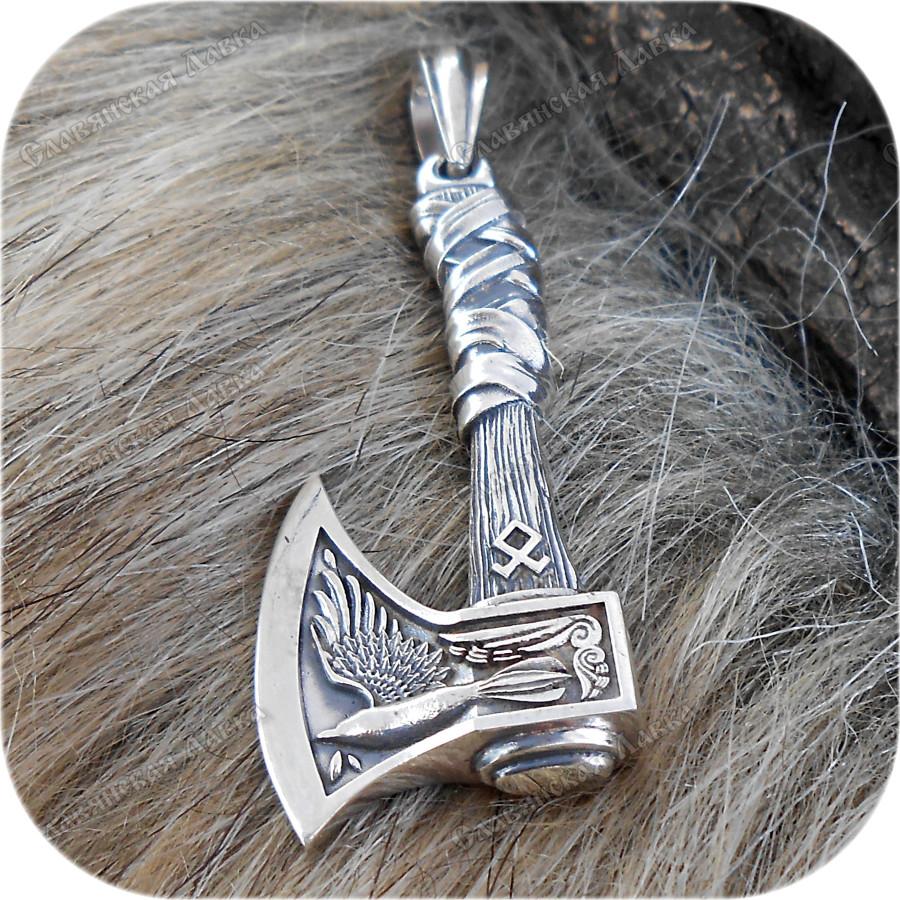 Богатырский серебряный оберег «Охотничий Топор»