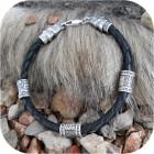 Браслет кожаный с оконцовками из серебра «Чертог»