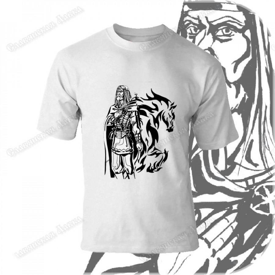 Футболка с ч/б рисунком «Воин»