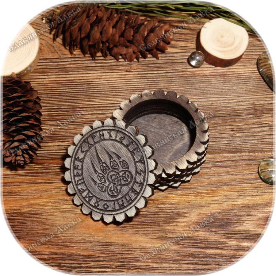 Берёзовая шкатулка круглая «Руническая Печать»