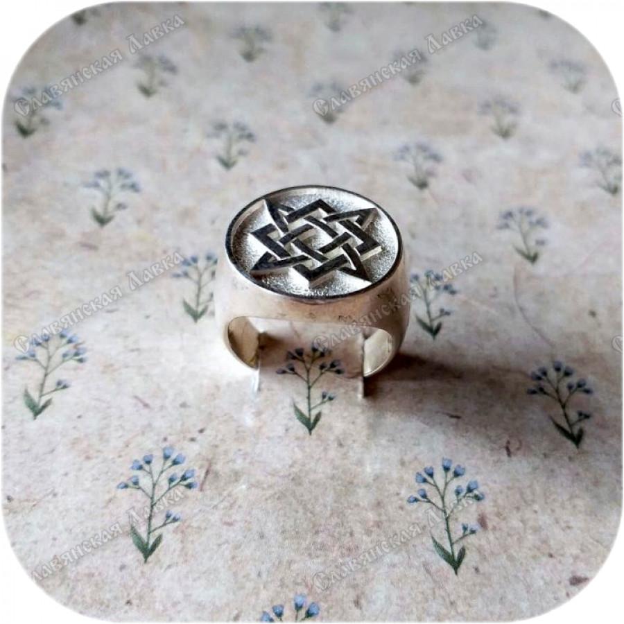 Мужской/женский перстень из серебра «Звезда Руси»
