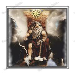 Славянская наклейка «Перун на троне»