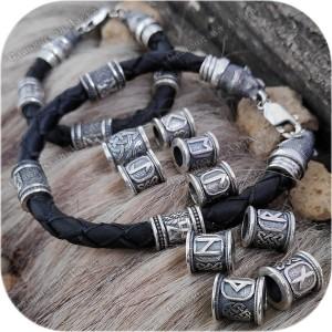 Браслет кожаный с оконцовками из серебра «Руна»