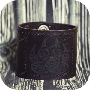 Кожаный браслет «Печать Велеса - Волк»