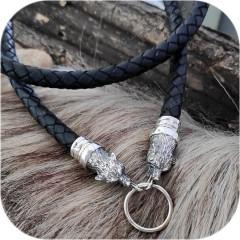 Шнур кожаный с оконцовками из серебра «Волк»