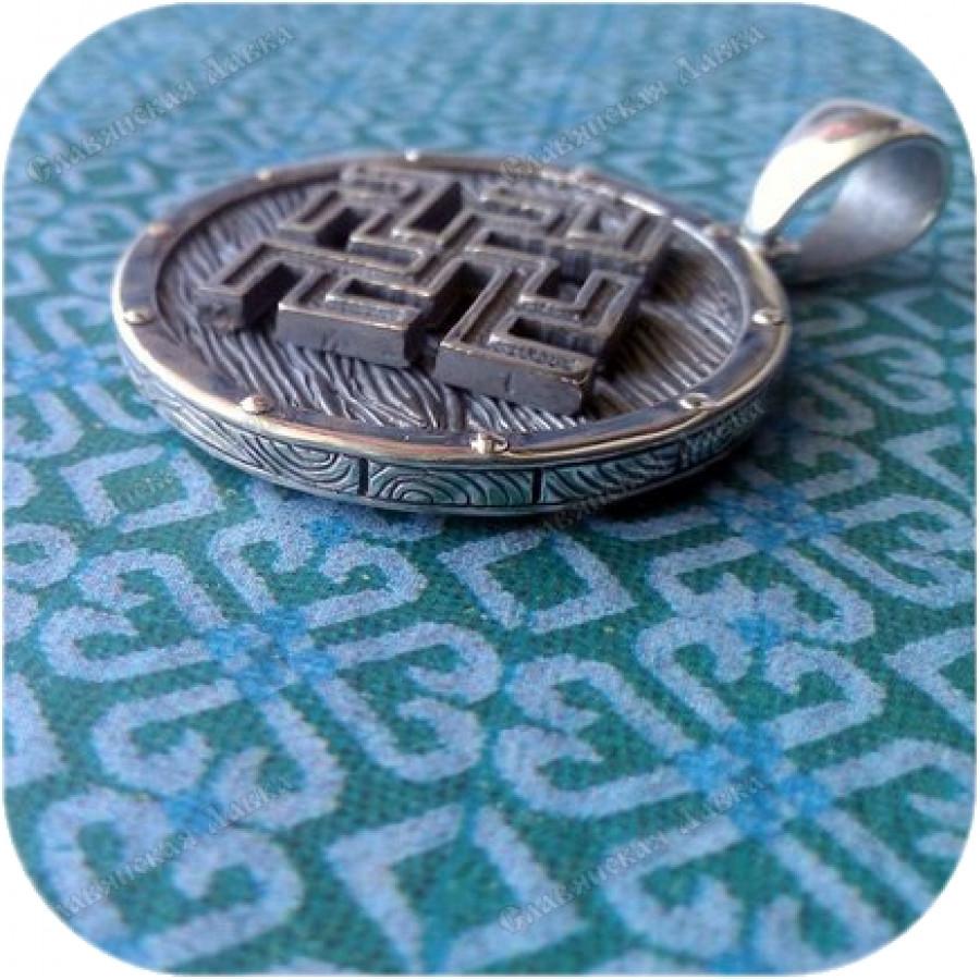 Кулон из серебра «Щит» (Одолень-Трава)