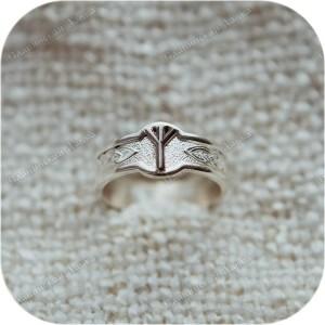 Серебряное кольцо с руной «Альгиз»