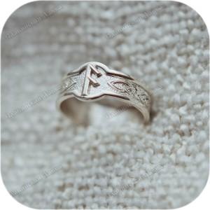 Серебряное кольцо с руной «Ансуз»