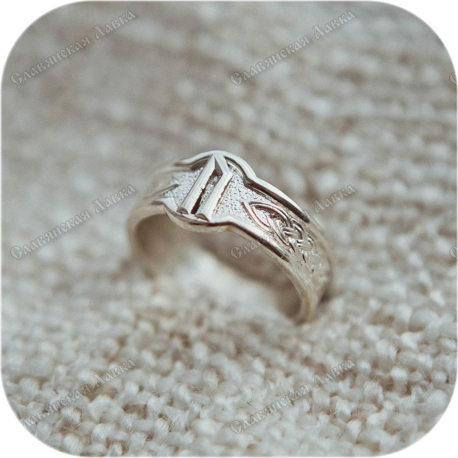 Серебряное кольцо с руной «Уруз»