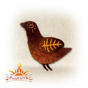 Брошь войлочная «Солнечная птица»