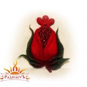 Войлочная брошь «Аленький цветочек»