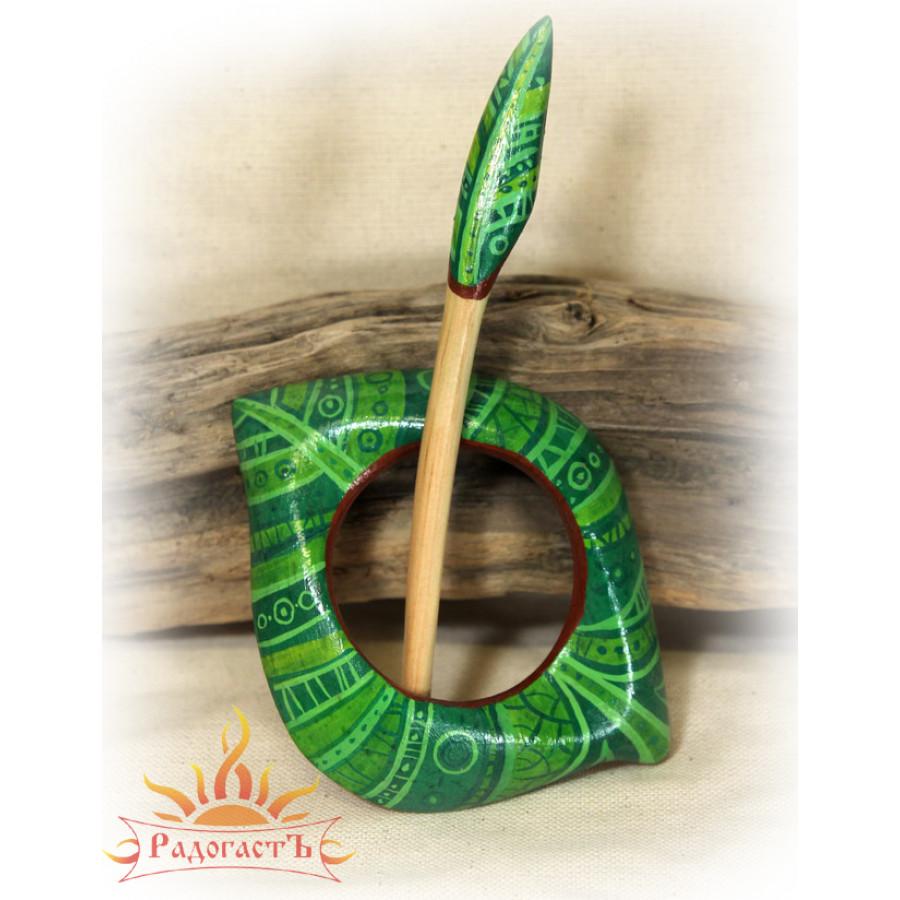 Заколка «Зеленый лист»