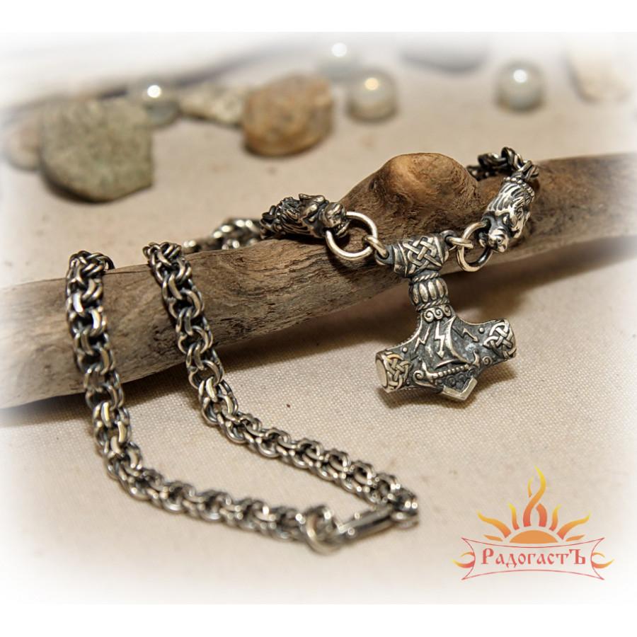 Кулон из серебра на цепи «Молот Тора Малый»