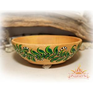 Тарелка кедровая с росписью