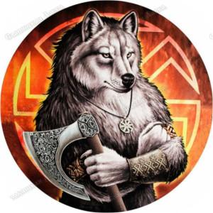 Славянская наклейка «Волк с секирой»