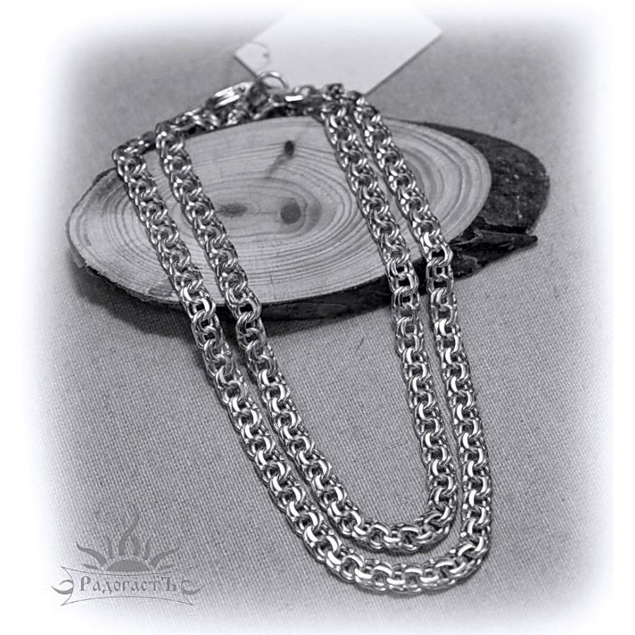 Цепь серебряная, плетение «Бисмарк» (толстое)