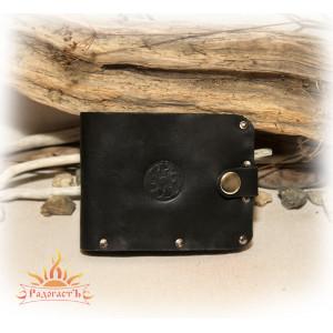 Кожаное портмоне со славянским солярным символом