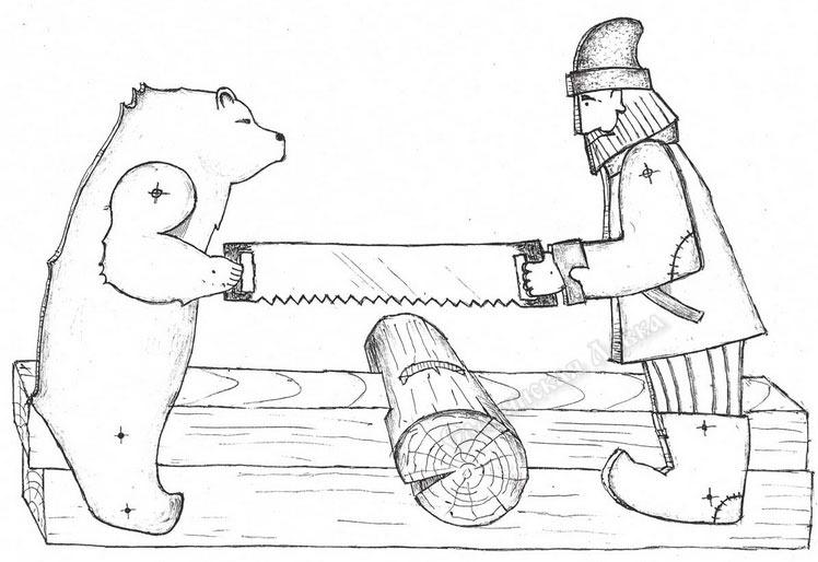 картинка медведи кузнецы домик
